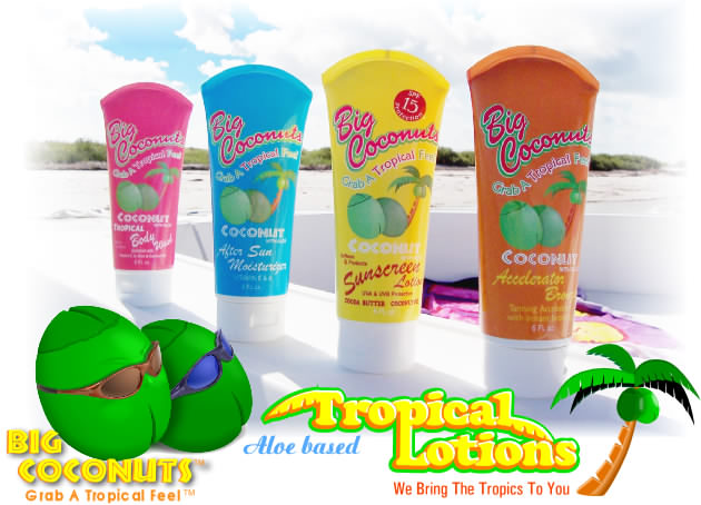 Tropical lotions made with Aloe, vitamins, antioxidants, eco friendly, organic materials, anti aging formula